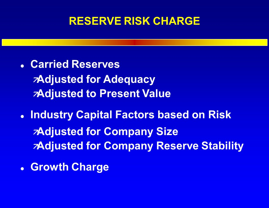 RESERVE RISK CHARGE l Carried Reserves ä Adjusted for Adequacy ä Adjusted to Present Value l Industry Capital Factors based on Risk ä Adjusted for Company Size ä Adjusted for Company Reserve Stability l Growth Charge