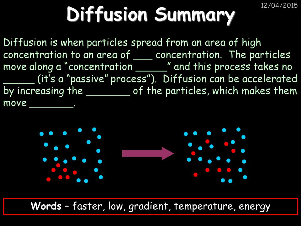 12/04/2015 Diffusion Summary Diffusion is when particles spread from an area of high concentration to an area of ___ concentration.
