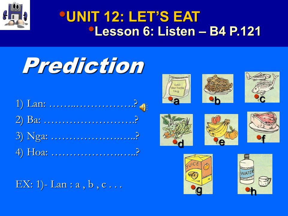UNIT 12: LET'S EAT UNIT 12: LET'S EAT Lesson 6: Listen – B4 P.121 Lesson 6: Listen – B4 P.121 Prediction 1) Lan: …………………….