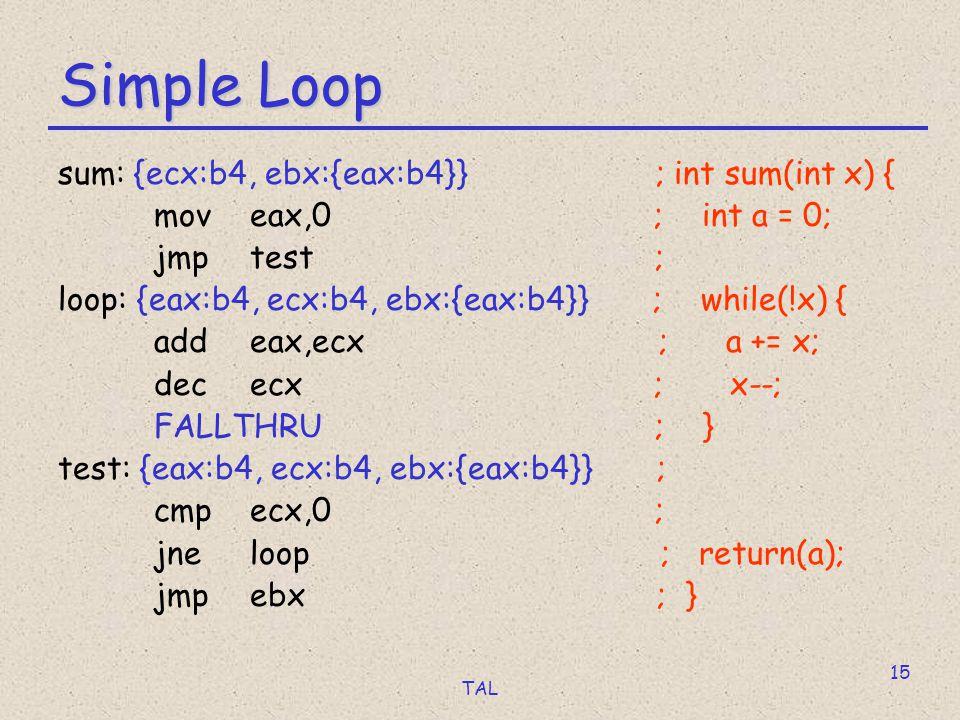 TAL 15 Simple Loop sum: {ecx:b4, ebx:{eax:b4}} ; int sum(int x) { moveax,0 ; int a = 0; jmptest ; loop: {eax:b4, ecx:b4, ebx:{eax:b4}} ; while(!x) { a