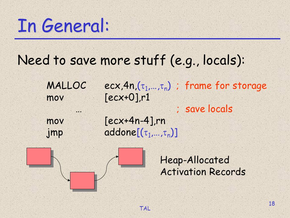 TAL 18 In General: Need to save more stuff (e.g., locals): MALLOC ecx,4n,(  1,…,  n ) ; frame for storage mov[ecx+0],r1 … ; save locals mov[ecx+4n-4],rn jmpaddone[(  1,…,  n )] Heap-Allocated Activation Records