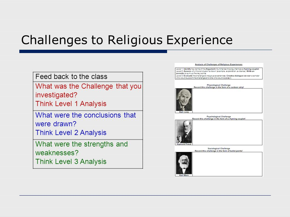 Challenges to Religious Experience Feed back to the class What was the Challenge that you investigated? Think Level 1 Analysis What were the conclusio
