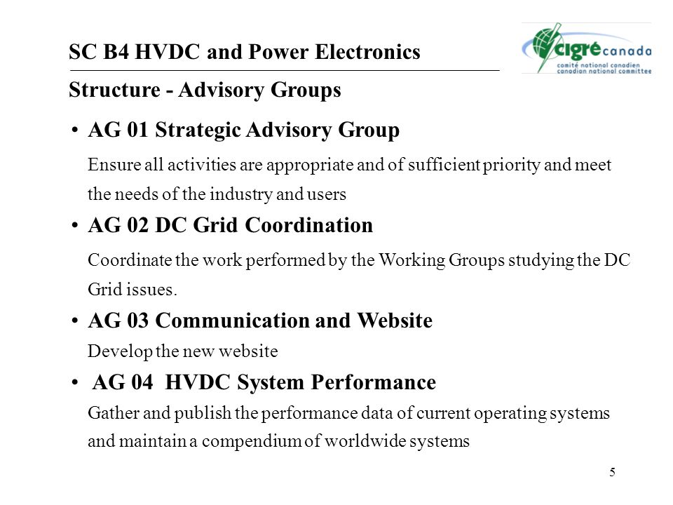 5 SC B4 HVDC and Power Electronics Structure - Advisory Groups AG 01 Strategic Advisory Group Ensure all activities are appropriate and of sufficient priority and meet the needs of the industry and users AG 02 DC Grid Coordination Coordinate the work performed by the Working Groups studying the DC Grid issues.