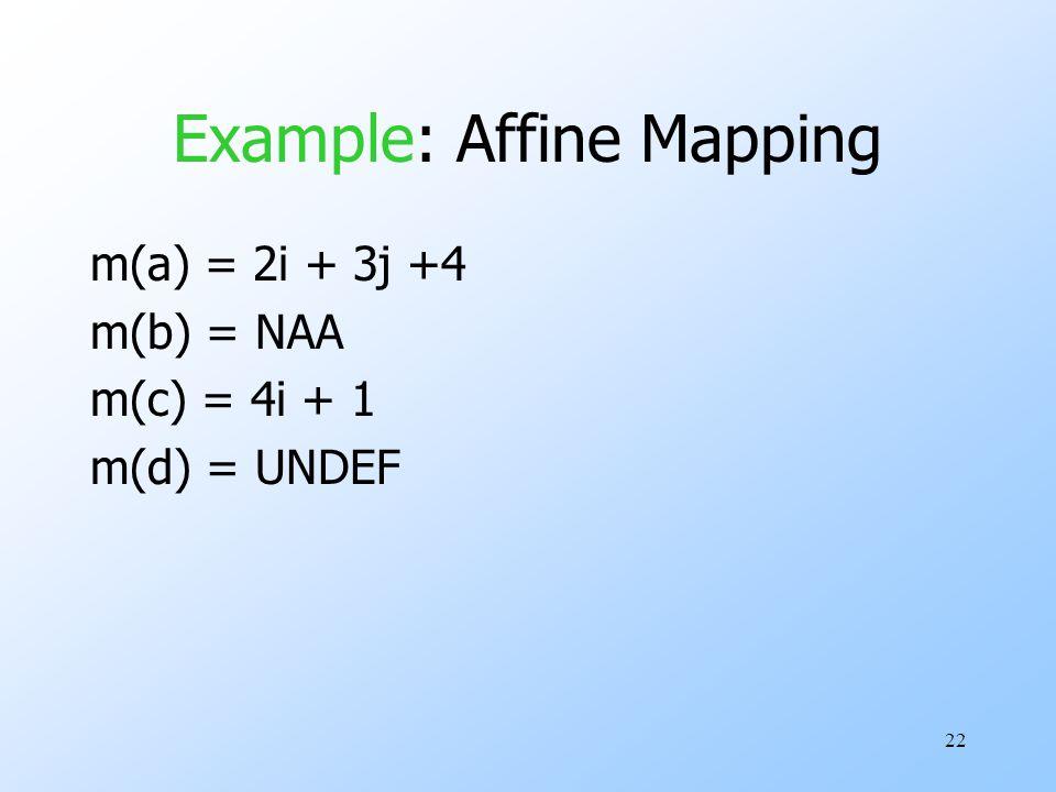 22 Example: Affine Mapping m(a) = 2i + 3j +4 m(b) = NAA m(c) = 4i + 1 m(d) = UNDEF