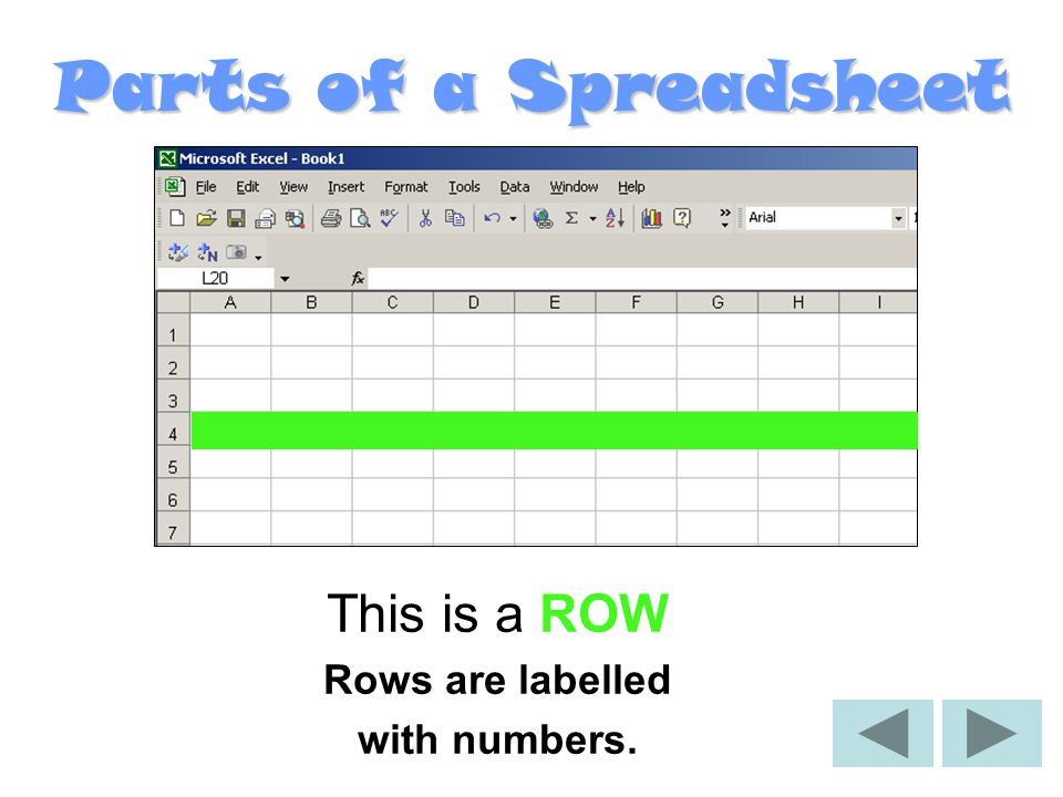 Parts of a Spreadsheet This is a ROW Rows are labelled with numbers.