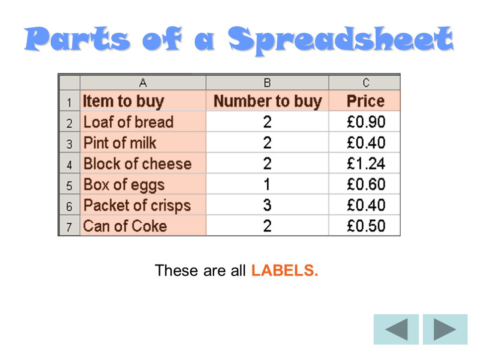 Parts of a Spreadsheet A LABEL is a piece of TEXT that you add to a spreadsheet to help describe the numbers.