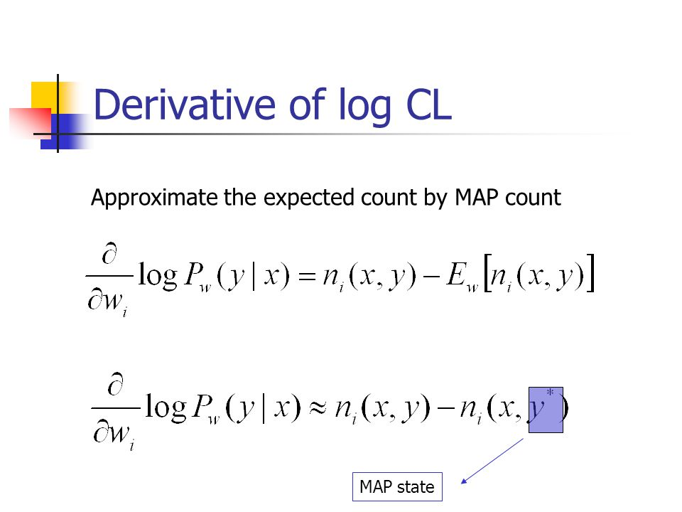 Derivative of log CL Approximate the expected count by MAP count MAP state