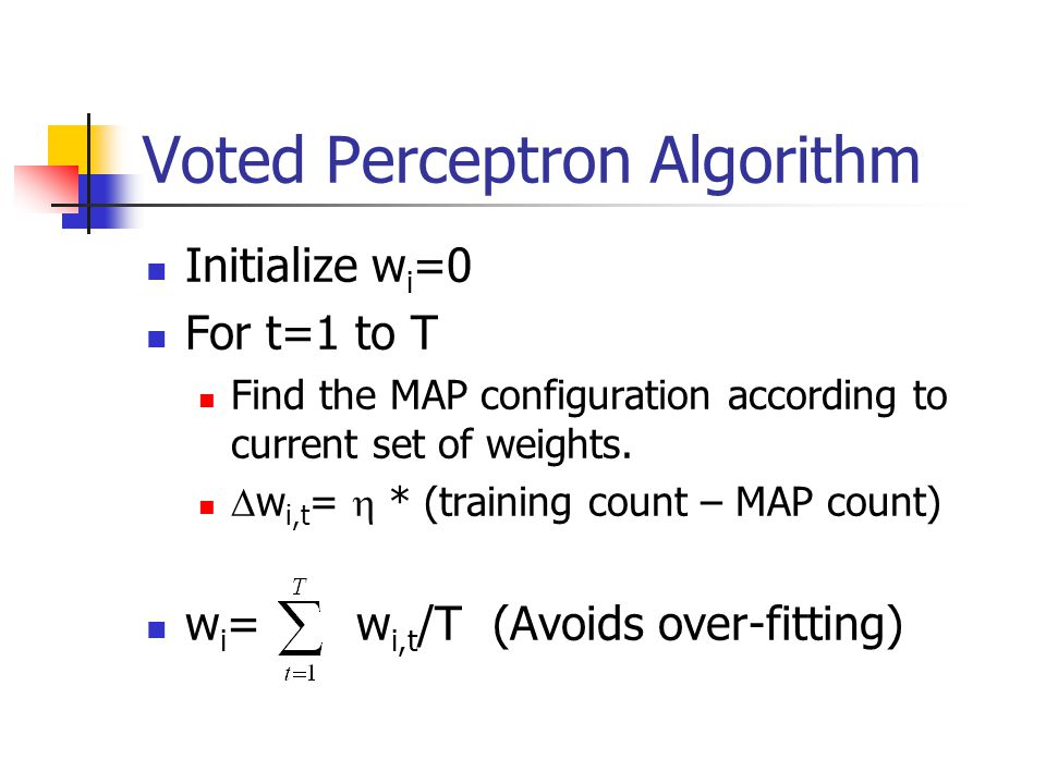 Voted Perceptron Algorithm Initialize w i =0 For t=1 to T Find the MAP configuration according to current set of weights.  w i,t =  * (training coun