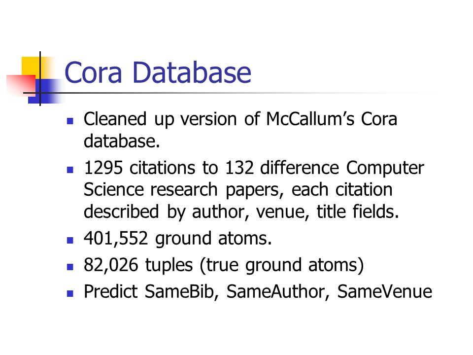 Cora Database Cleaned up version of McCallum's Cora database. 1295 citations to 132 difference Computer Science research papers, each citation describ