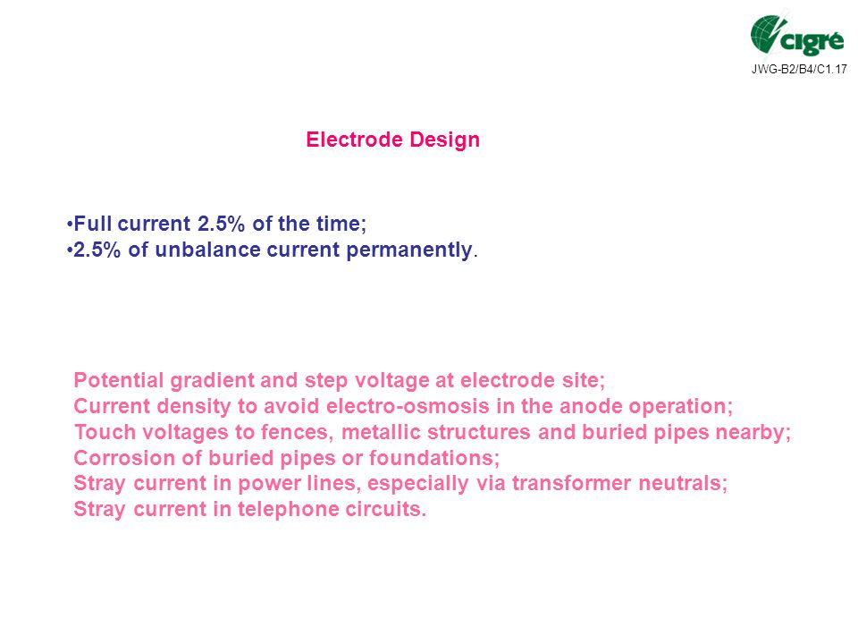 JWG-B2/B4/C1.17 Electrode Design Full current 2.5% of the time; 2.5% of unbalance current permanently.