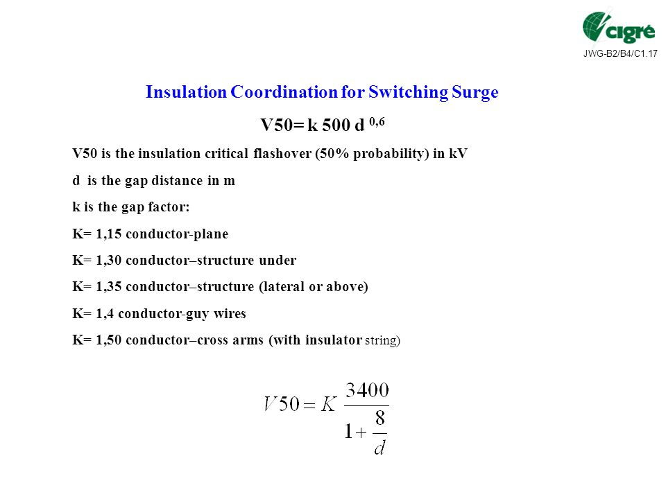 JWG-B2/B4/C1.17 Insulation Coordination for Switching Surge V50= k 500 d 0,6 V50 is the insulation critical flashover (50% probability) in kV d is the gap distance in m k is the gap factor: K= 1,15 conductor-plane K= 1,30 conductor–structure under K= 1,35 conductor–structure (lateral or above) K= 1,4 conductor-guy wires K= 1,50 conductor–cross arms (with insulator string)