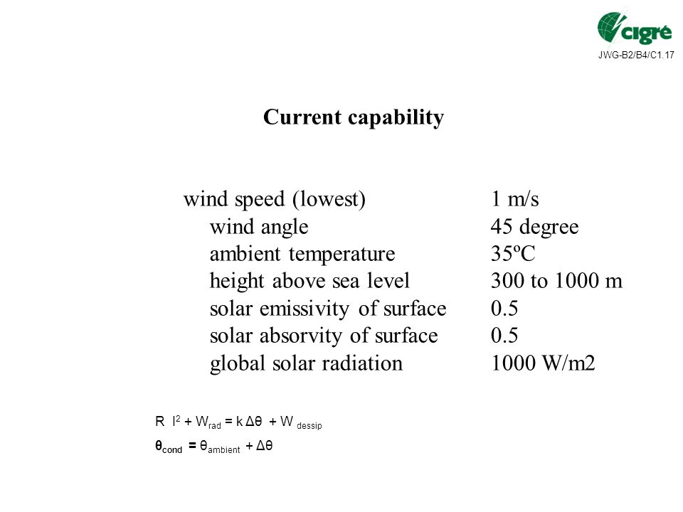 JWG-B2/B4/C1.17 Current capability wind speed (lowest)1 m/s wind angle45 degree ambient temperature35ºC height above sea level300 to 1000 m solar emissivity of surface0.5 solar absorvity of surface0.5 global solar radiation1000 W/m2 R I 2 + W rad = k Δθ + W dessip θ cond = θ ambient + Δθ