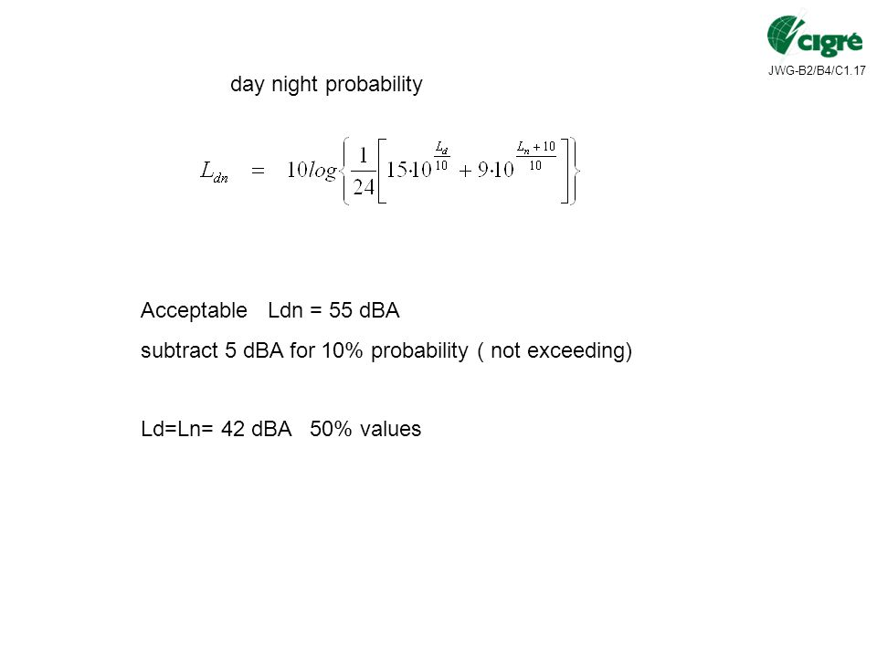 day night probability Acceptable Ldn = 55 dBA subtract 5 dBA for 10% probability ( not exceeding) Ld=Ln= 42 dBA 50% values