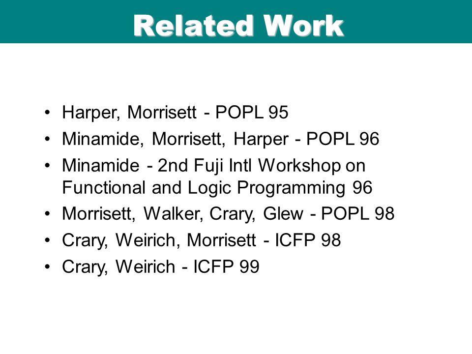 ICFP 98 06/08/9 9 Related Work Harper, Morrisett - POPL 95 Minamide, Morrisett, Harper - POPL 96 Minamide - 2nd Fuji Intl Workshop on Functional and Logic Programming 96 Morrisett, Walker, Crary, Glew - POPL 98 Crary, Weirich, Morrisett - ICFP 98 Crary, Weirich - ICFP 99