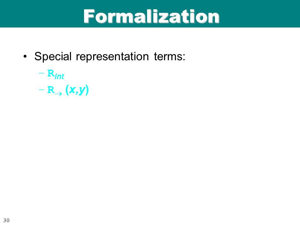 ICFP 98 06/08/9 9 30 Formalization Special representation terms: –R int –R  (x,y)