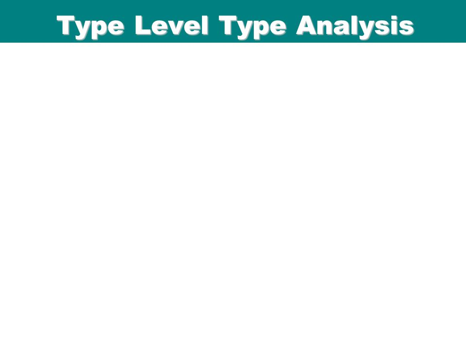 ICFP 98 Type Level Type Analysis