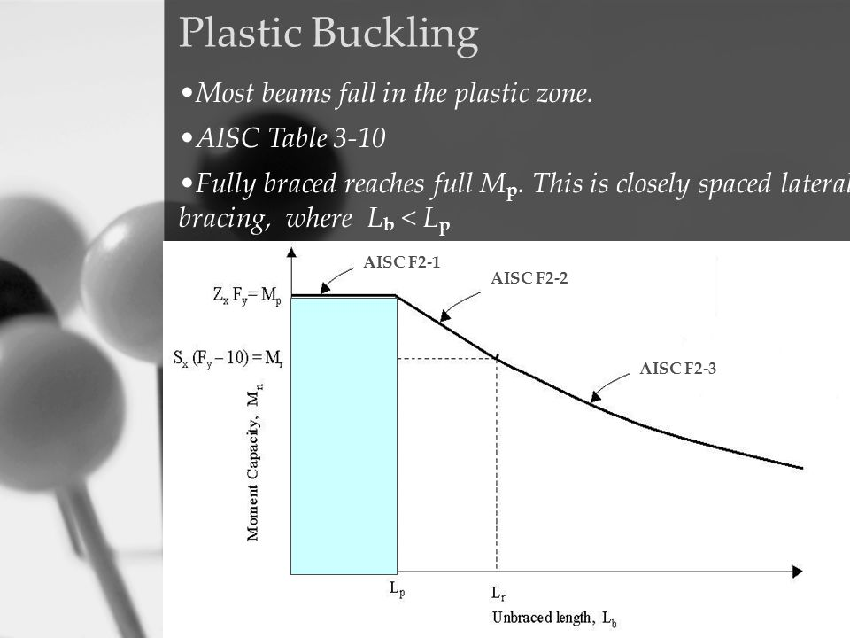 Plastic Buckling Most beams fall in the plastic zone. AISC Table 3-10 Fully braced reaches full M p. This is closely spaced lateral bracing, where L b