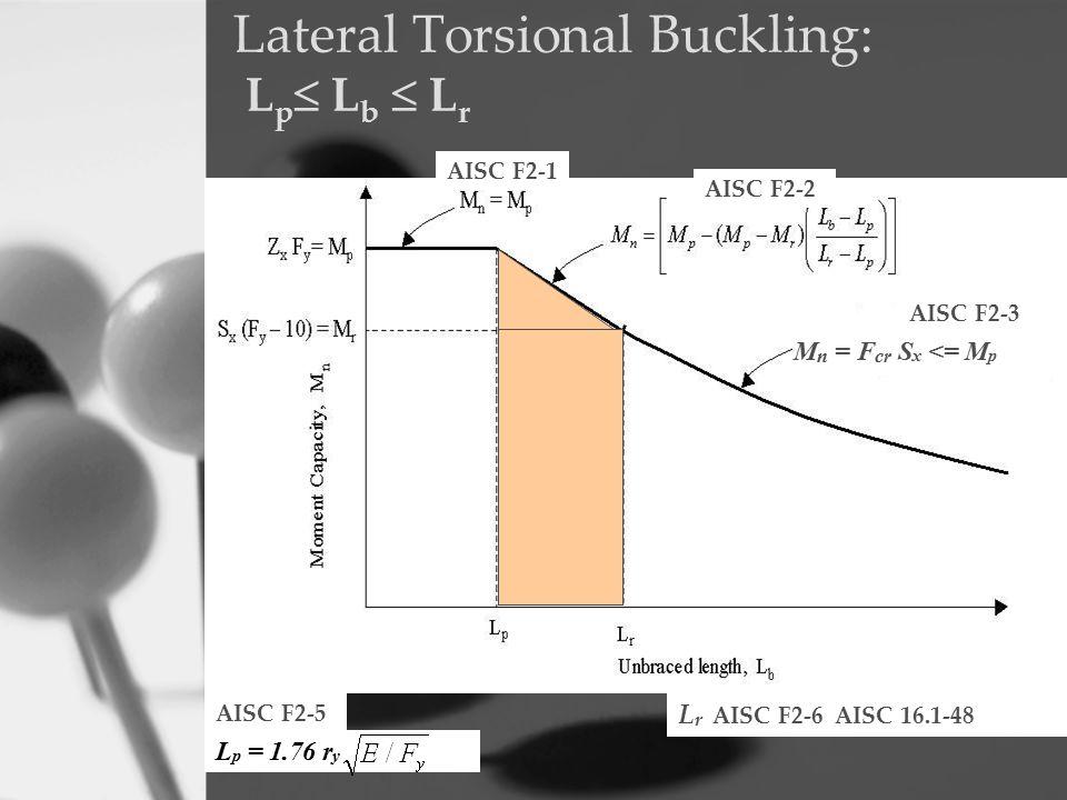 Lateral Torsional Buckling: L p  L b  L r AISC F2-1 AISC F2-2 M n = F cr S x <= M p AISC F2-3 AISC F2-5 L p = 1.76 r y L r AISC F2-6 AISC 16.1-48