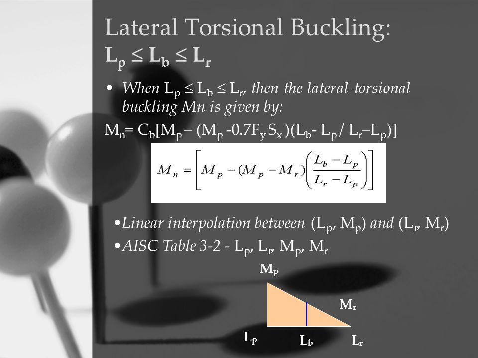 Lateral Torsional Buckling: L p  L b  L r When L p  L b  L r, then the lateral-torsional buckling Mn is given by: M n = C b [M p – (M p -0.7F y S
