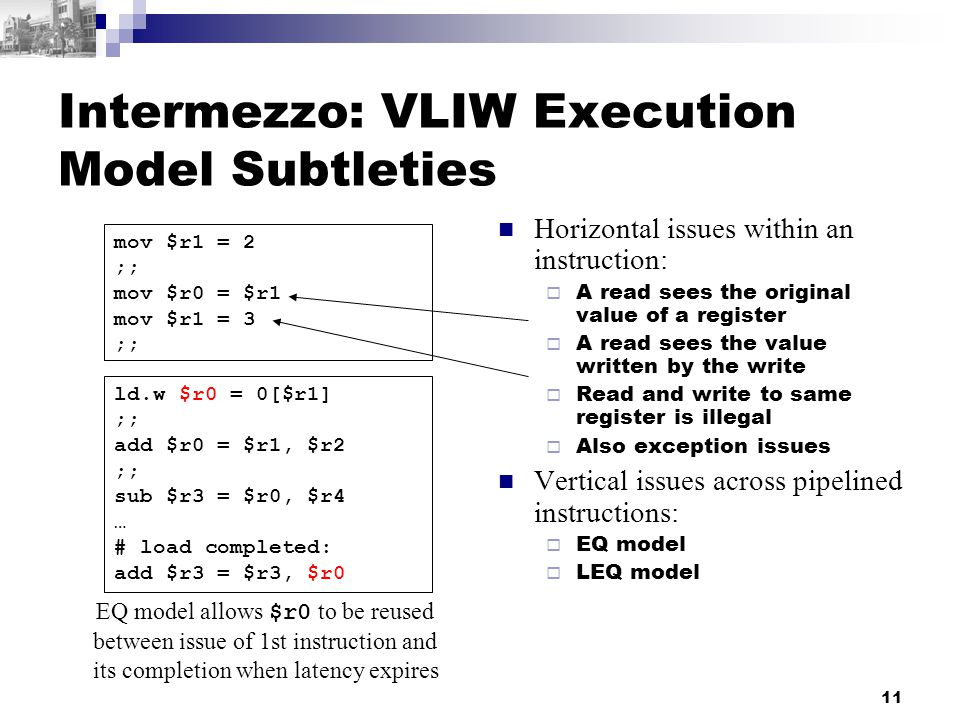 11 Intermezzo: VLIW Execution Model Subtleties Horizontal issues within an instruction:  A read sees the original value of a register  A read sees the value written by the write  Read and write to same register is illegal  Also exception issues Vertical issues across pipelined instructions:  EQ model  LEQ model mov $r1 = 2 ;; mov $r0 = $r1 mov $r1 = 3 ;; ld.w $r0 = 0[$r1] ;; add $r0 = $r1, $r2 ;; sub $r3 = $r0, $r4 … # load completed: add $r3 = $r3, $r0 EQ model allows $r0 to be reused between issue of 1st instruction and its completion when latency expires