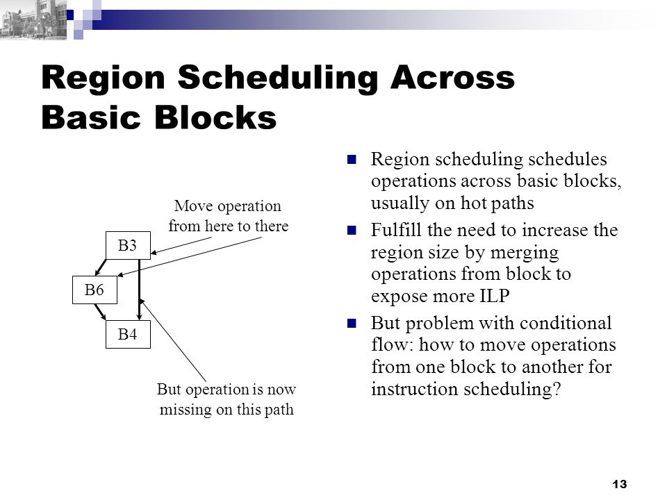13 Region Scheduling Across Basic Blocks Region scheduling schedules operations across basic blocks, usually on hot paths Fulfill the need to increase the region size by merging operations from block to expose more ILP But problem with conditional flow: how to move operations from one block to another for instruction scheduling.