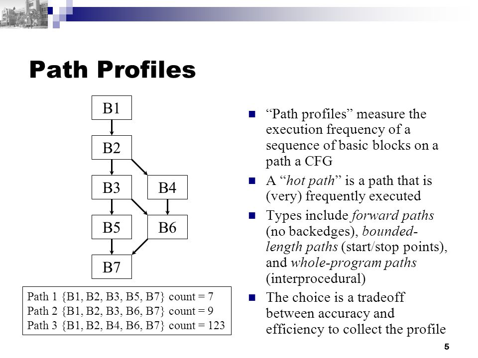5 Path Profiles Path profiles measure the execution frequency of a sequence of basic blocks on a path a CFG A hot path is a path that is (very) frequently executed Types include forward paths (no backedges), bounded- length paths (start/stop points), and whole-program paths (interprocedural) The choice is a tradeoff between accuracy and efficiency to collect the profile B1 B2 B3 B5 B4 B6 B7 Path 1 {B1, B2, B3, B5, B7} count = 7 Path 2 {B1, B2, B3, B6, B7} count = 9 Path 3 {B1, B2, B4, B6, B7} count = 123