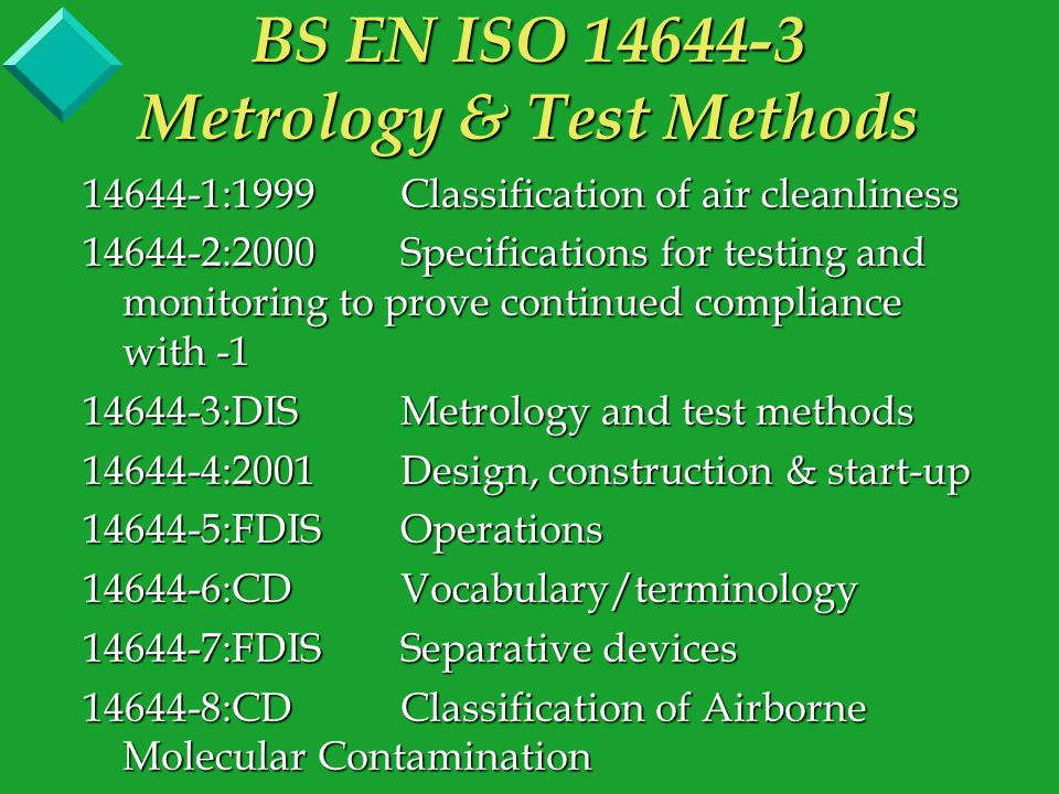 14644-1:1999Classification of air cleanliness 14644-2:2000Specifications for testing and monitoring to prove continued compliance with -1 14644-3:DISMetrology and test methods 14644-4:2001Design, construction & start-up 14644-5:FDISOperations 14644-6:CDVocabulary/terminology 14644-7:FDISSeparative devices 14644-8:CDClassification of Airborne Molecular Contamination BS EN ISO 14644-3 Metrology & Test Methods