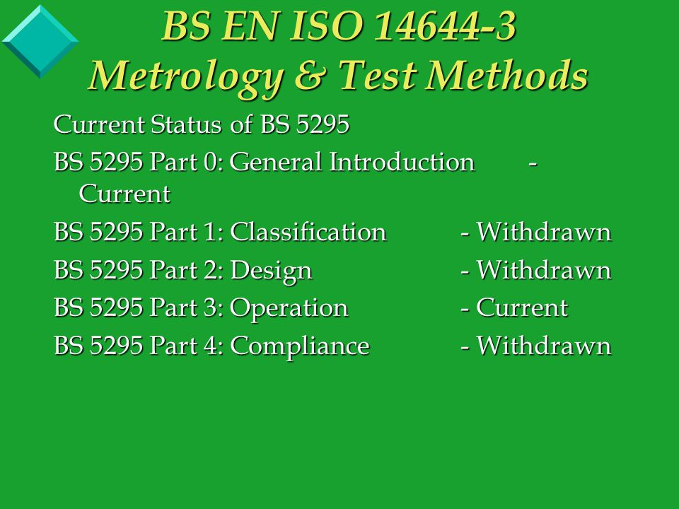Current Status of BS 5295 BS 5295 Part 0: General Introduction - Current BS 5295 Part 1: Classification- 14644-1/3 BS 5295 Part 2: Design- 14644-4 BS 5295 Part 3: Operation- Current BS 5295 Part 4: Compliance- 14644-2 Some of BS5295 Part 1 is not addressed currently and PD6609:2000 is being revised to 'bridge the gap'.
