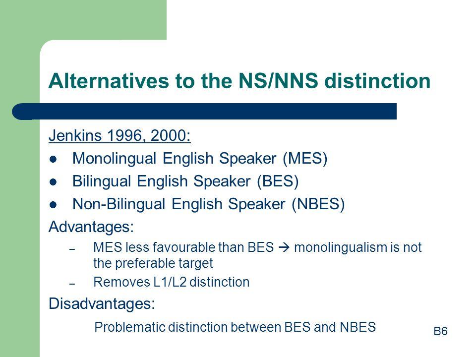 Alternatives to the NS/NNS distinction Jenkins 1996, 2000: Monolingual English Speaker (MES) Bilingual English Speaker (BES) Non-Bilingual English Spe