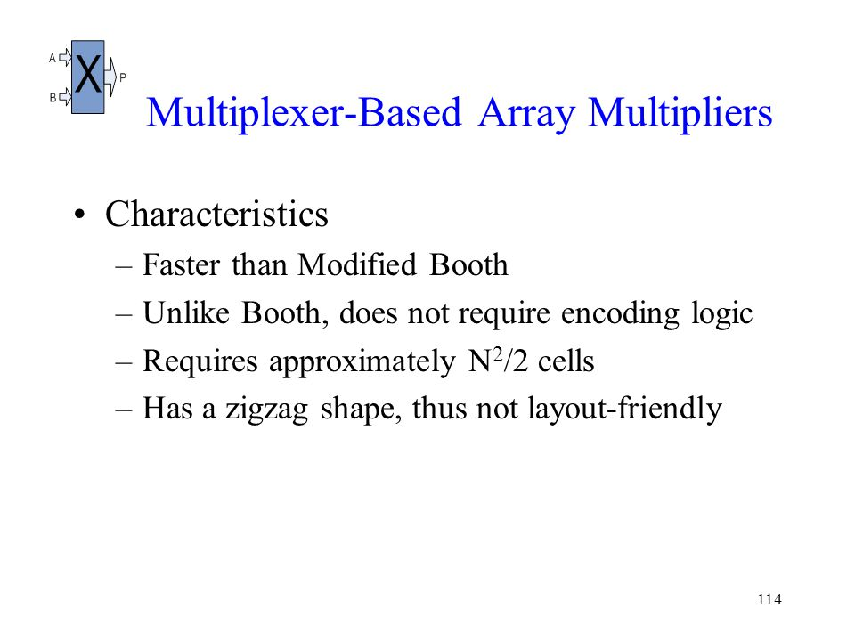114 Multiplexer-Based Array Multipliers Characteristics –Faster than Modified Booth –Unlike Booth, does not require encoding logic –Requires approximately N 2 /2 cells –Has a zigzag shape, thus not layout-friendly