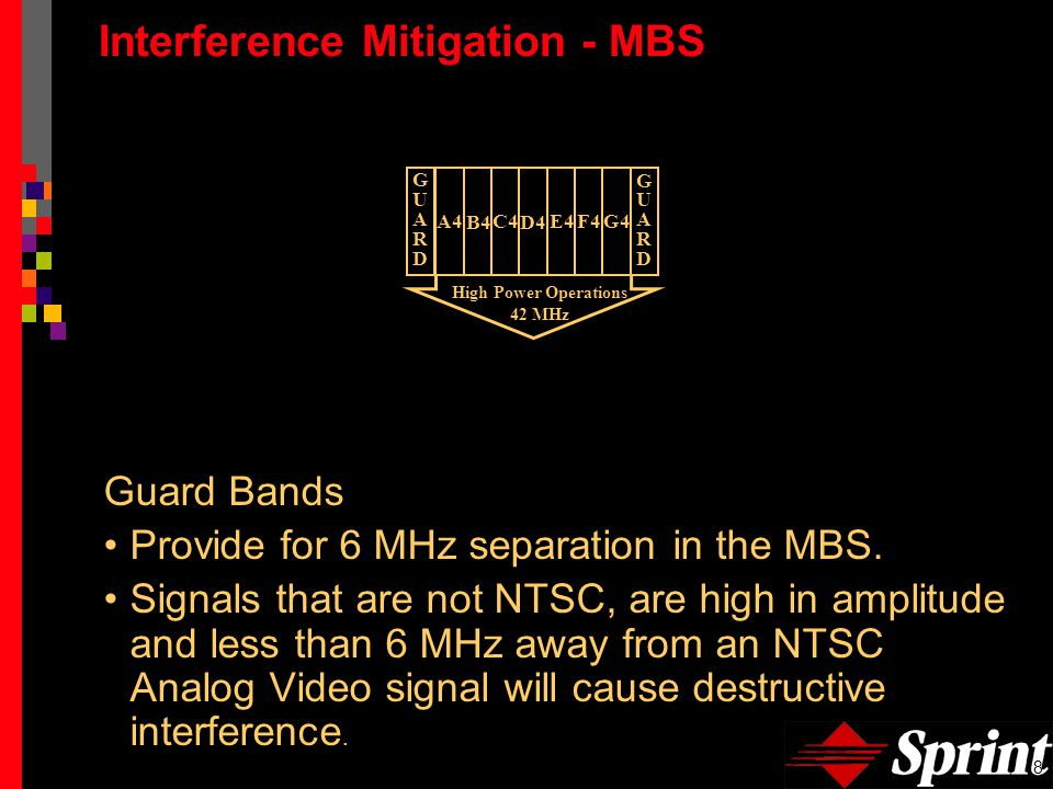 9 Interference Mitigation - MBS Frequencies and Co Channel Interference NTSC Analog Video signals – Unequal spectral density and peak power at visual carrier.