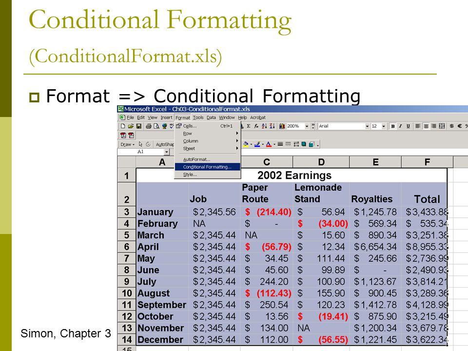 Conditional Formatting (ConditionalFormat.xls)  Format => Conditional Formatting Simon, Chapter 3