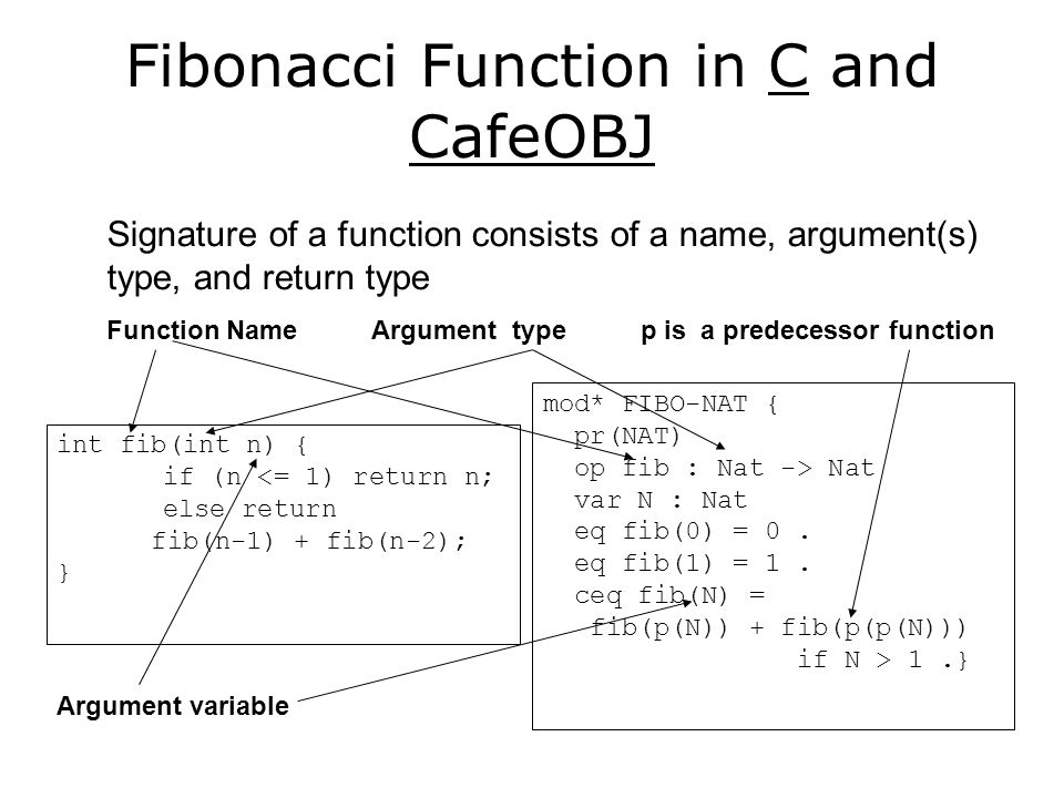 Fibonacci Function in Python and CafeOBJ mod* FIBO-NAT { pr(NAT) op fib : Nat -> Nat var N : Nat eq fib(0) = 0.