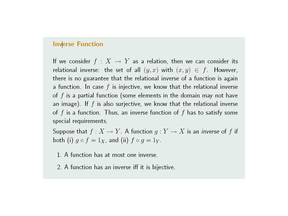 14.42 Theorem Let f:B  C be a total function, and let f -1 is its relational inverse.