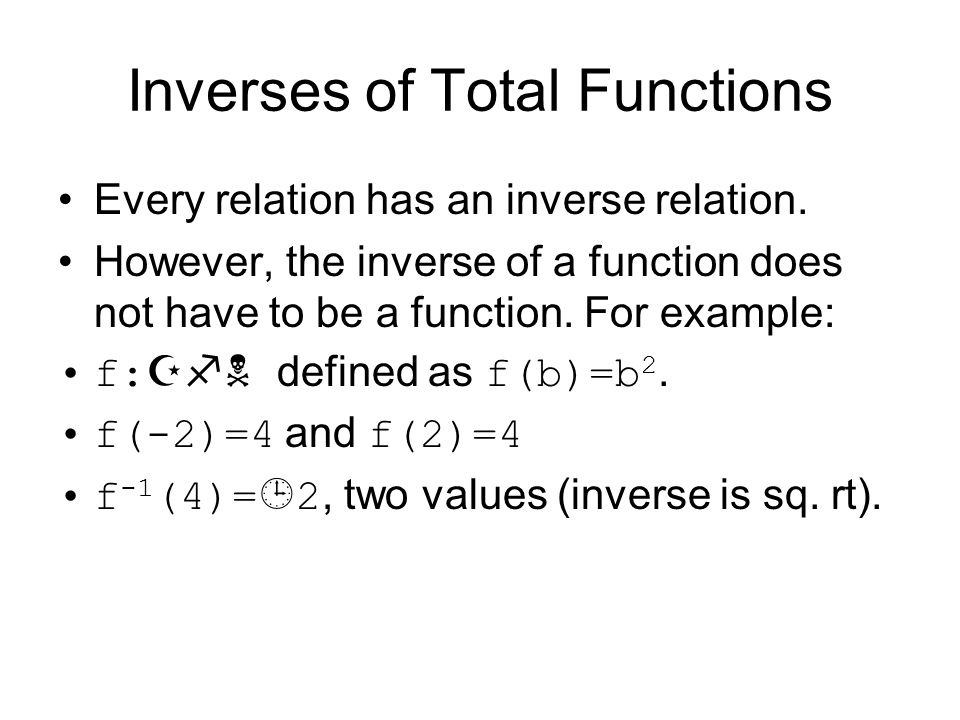 Inverse of Total Functions Partial functions Total functions Injective or on-to-one Surjective or onto Bijective has inverse