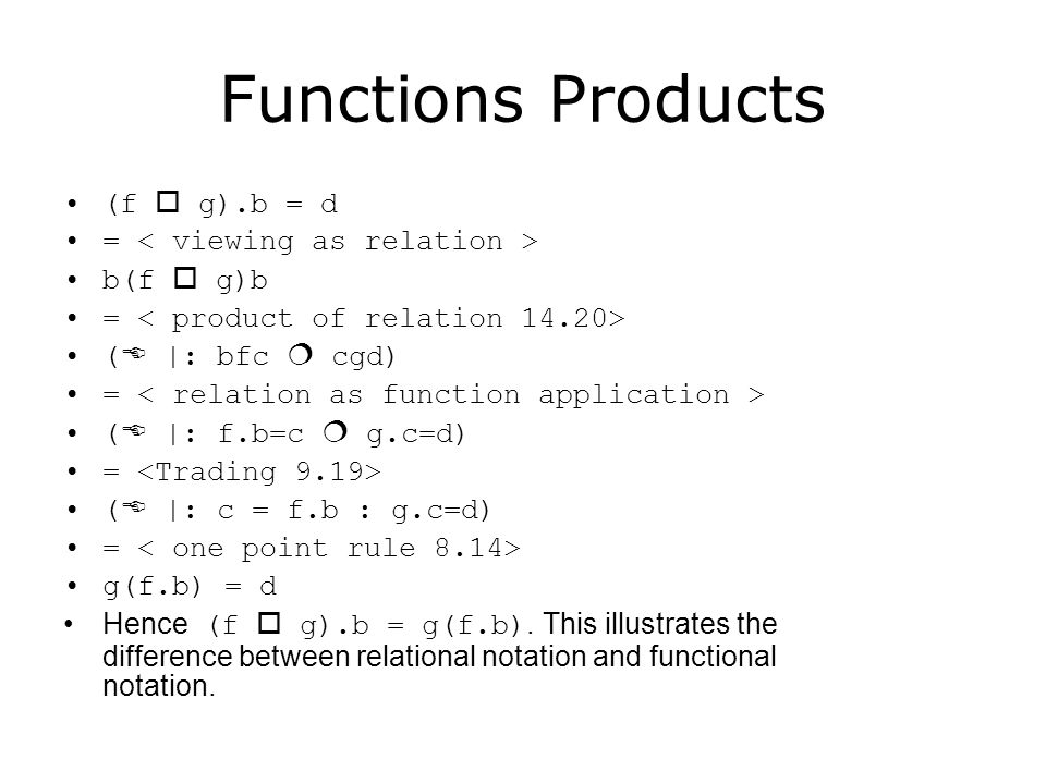 Functions Products Hence (f  g).b = g(f.b).
