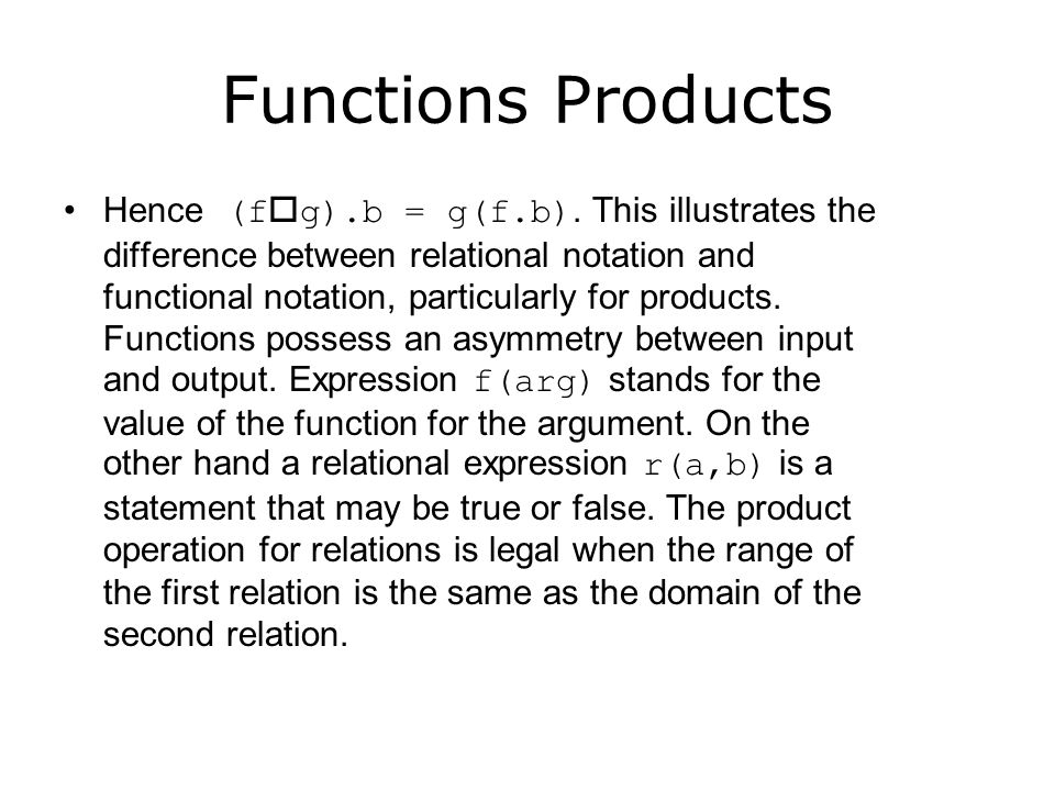 Functions Products We would prefer f(g.b) instead of g(f.b).