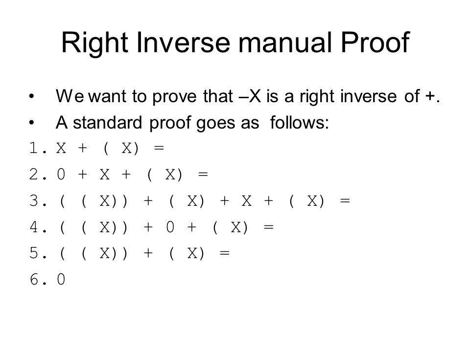 Right inverse CafeOBJ proof open GROUP op a : > G.