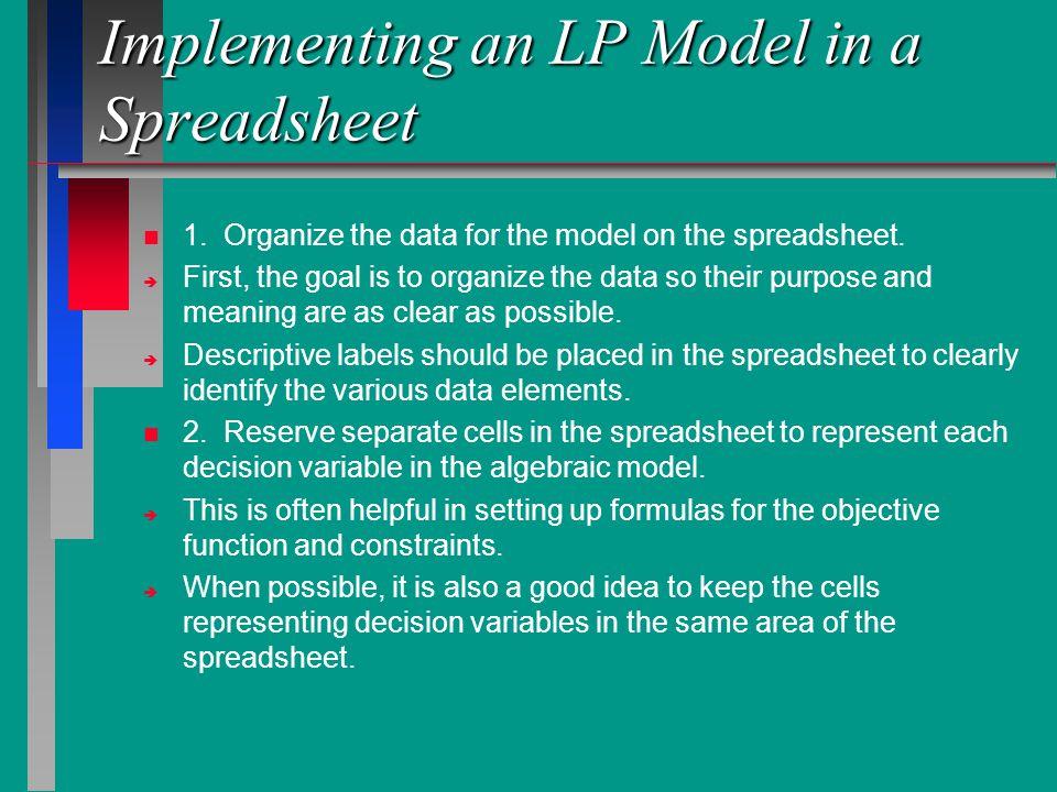 Implementing an LP Model in a Spreadsheet n n 1.