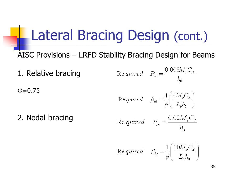 35 Lateral Bracing Design (cont.) AISC Provisions – LRFD Stability Bracing Design for Beams 1.