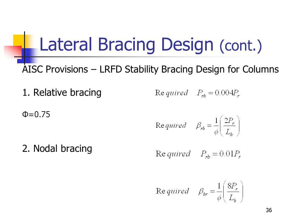 36 Lateral Bracing Design (cont.) AISC Provisions – LRFD Stability Bracing Design for Columns 1.