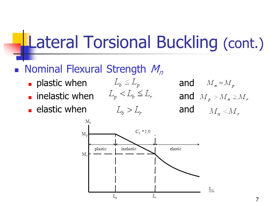 7 Lateral Torsional Buckling (cont.) Nominal Flexural Strength M n plastic when and inelastic whenand elastic whenand inelastic plastic elastic 1.0C b  n M r M p M p L b L r L