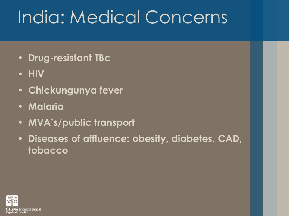 India: Medical Concerns Drug-resistant TBc HIV Chickungunya fever Malaria MVA's/public transport Diseases of affluence: obesity, diabetes, CAD, tobacco