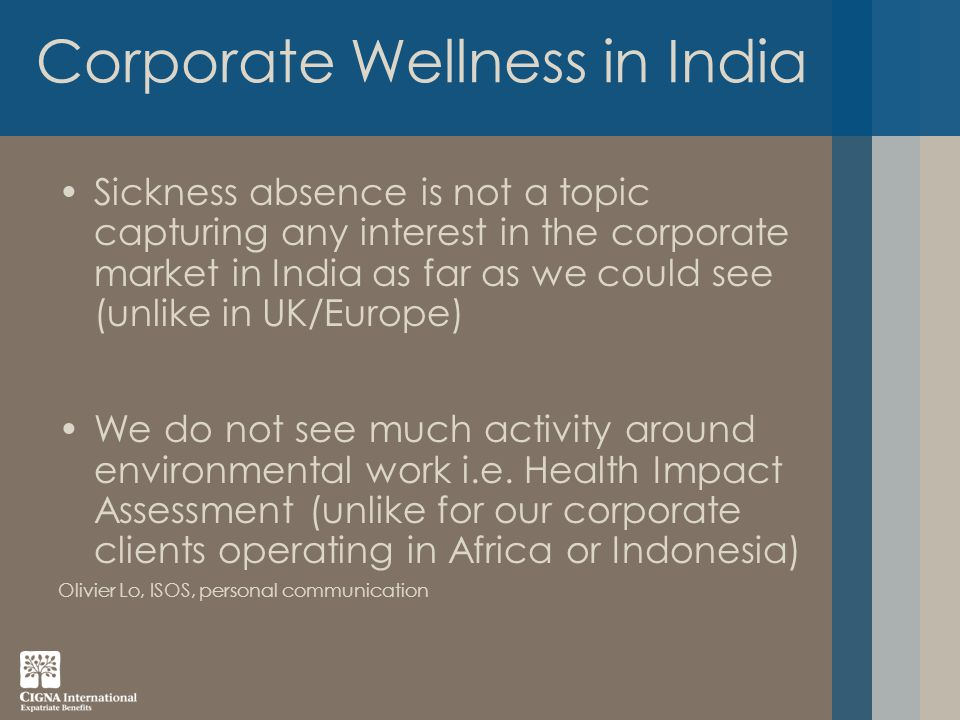 Sickness absence is not a topic capturing any interest in the corporate market in India as far as we could see (unlike in UK/Europe) We do not see much activity around environmental work i.e.