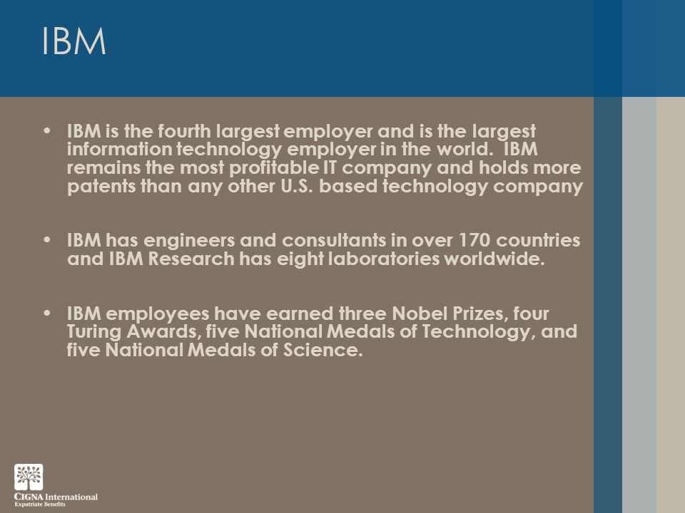 IBM IBM is the fourth largest employer and is the largest information technology employer in the world.