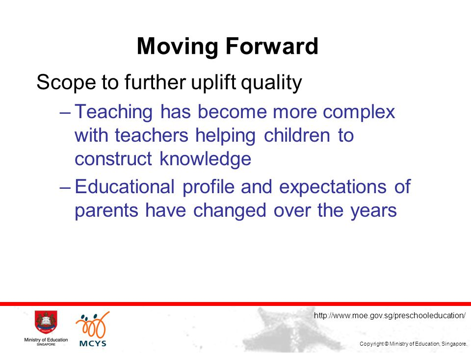 MOULDING THE FUTURE OF OUR NATION Copyright © Ministry of Education, Singapore.