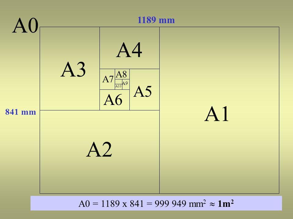 A1 A2 A3 A4 A6 A0 1189 mm 841 mm A0 = 1189 x 841 = 999 949 mm 2  1m 2 A5 A7 A8 A9 A10