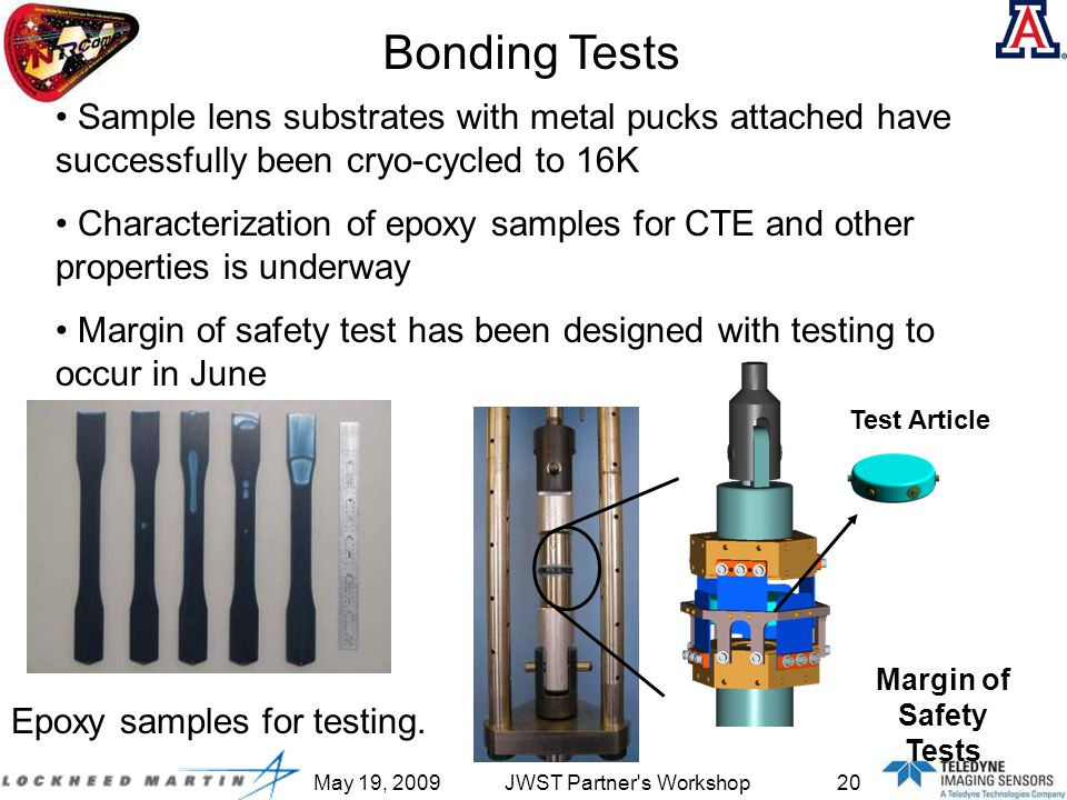 May 19, 2009JWST Partner s Workshop20 Test Article Margin of Safety Tests Bonding Tests Epoxy samples for testing.