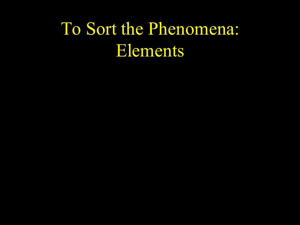 To Sort the Phenomena: Elements