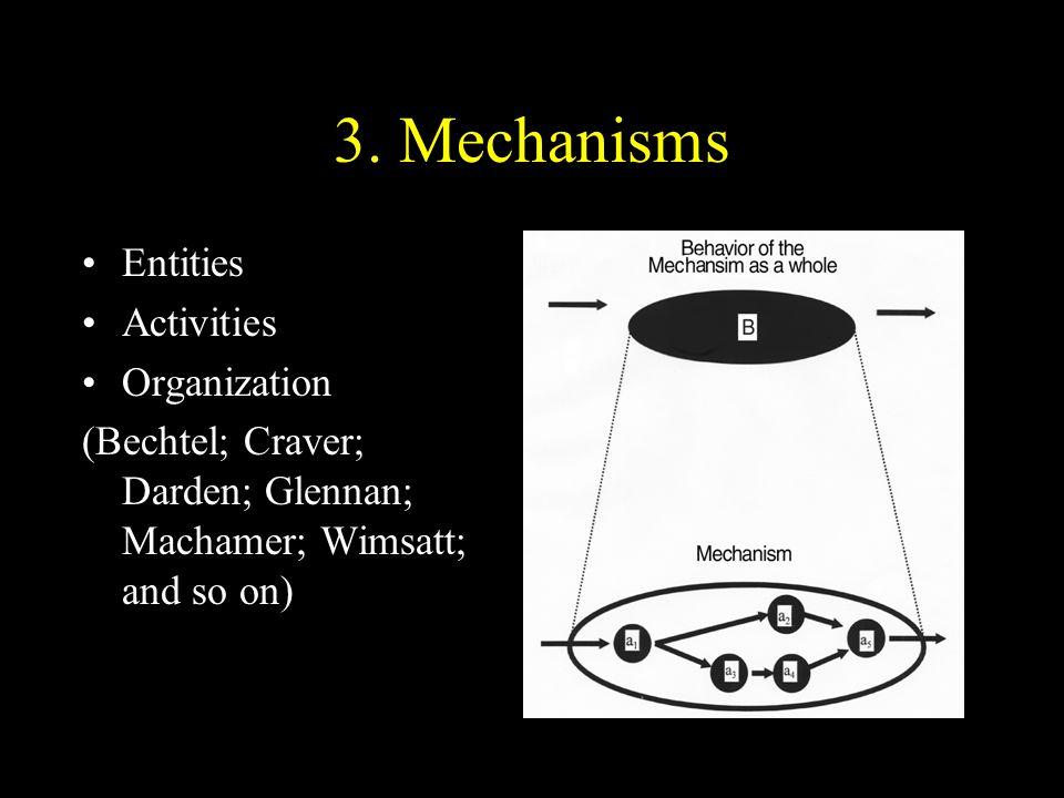 3. Mechanisms Entities Activities Organization (Bechtel; Craver; Darden; Glennan; Machamer; Wimsatt; and so on)